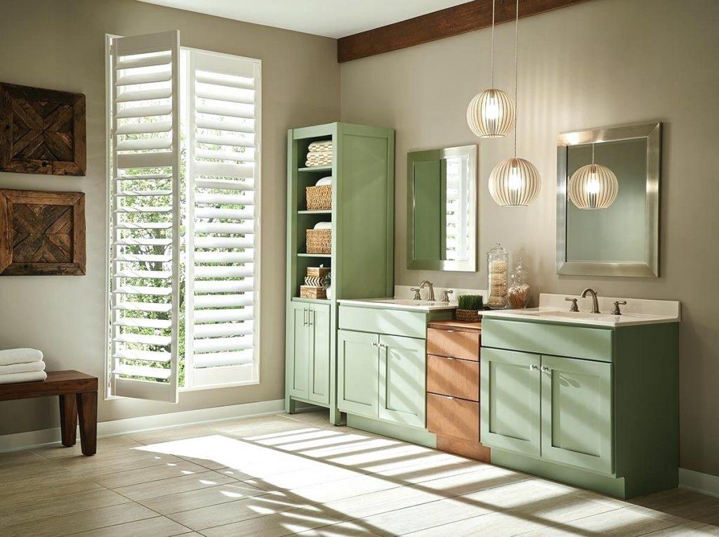 Dual Strasser vanity. Light green cabinet display