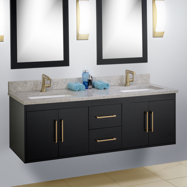 Black wall mount Strasser bathroom vanity with gold plumbing fixtures