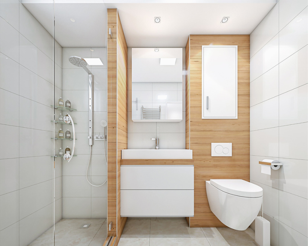 White bathroom rectified tile